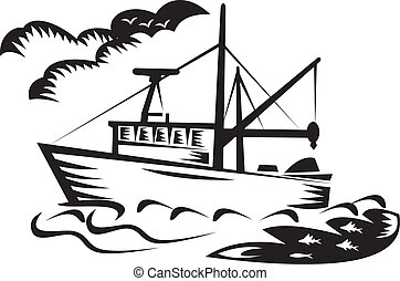 illustration of a commercial fishing boat ship on sea with clouds and fish done in retro woodcut style black and white