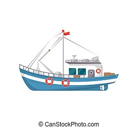 Commercial fishing boat side view icon