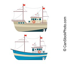 Commercial fishing boat side view isolated icon. Sea or ocean transportation, marine ship for industrial seafood production .