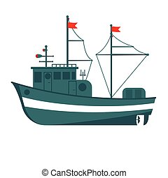Commercial fishing boat side view . Sea or ocean transportation, marine ship for industrial seafood production
