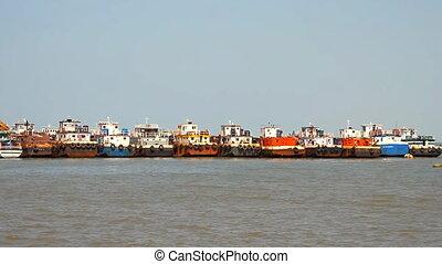 commercial fishing boats based at port - Maharashtra, India...
