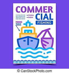 Commercial Fishing Creative Promo Banner Vector