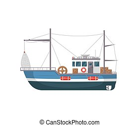 Commercial fishing ship side view icon