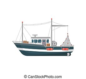 Commercial fishing vessel side view icon