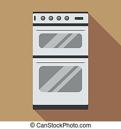 Commercial gas oven icon, flat style