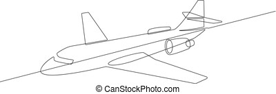 Commercial Jet Airplane Continuous Line Vector Graphic