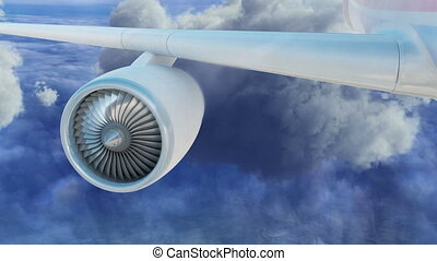 Commercial jet airplane flies above clouds with fly through engine