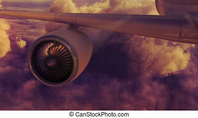 Commercial jet airplane flies above clouds with fly through engine sunset