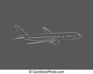 Commercial jet airplane line drawing on grey background