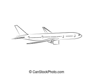 Commercial jet airplane line drawing vector in flight