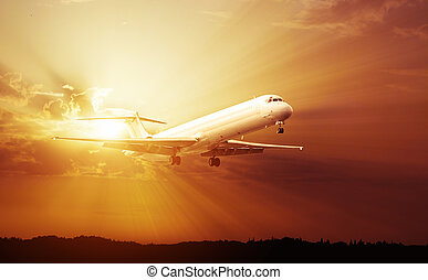commercial jet airplane - Sunset Airplane Travel. Airliner...