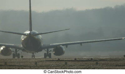 Commercial Jet Airplane Taxiing and Takeoff.