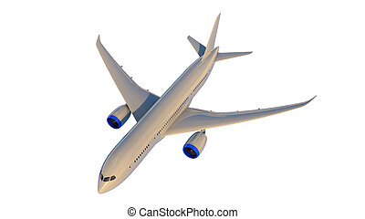 Commercial jet plane. 3D render. Top view side view