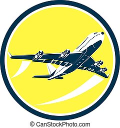 Commercial Jet Plane Airline Circle Retro