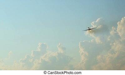 Commercial jet plane flight in sky