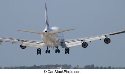 Commercial Jet Plane Landing - Aircraft Boeing 747-400...
