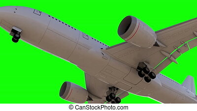 Commercial Jet Plane takes off. Landing gear down 3D render Green background