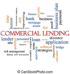 Commercial Lending Word Cloud Concept with great terms such as loan, fees, business plan and more.