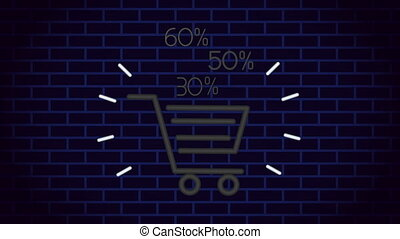 commercial neon light label with shopping cart ,4k video animation