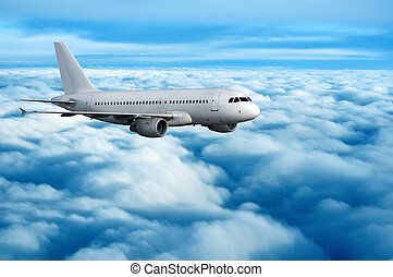 Commercial passenger jet in flight