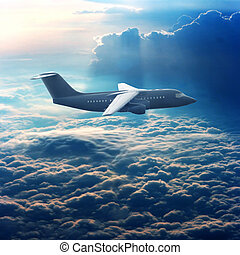 Commercial plane in the sky