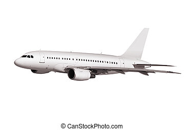 commercial plane on white background