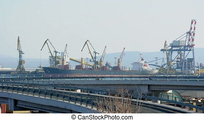 Commercial port cranes. Cranes in a