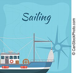 Commercial sailing poster with sea ship