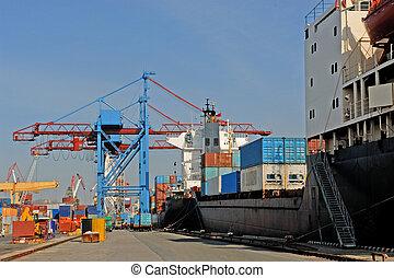 Commercial Sea port city of Vladivostok, cargo handling
