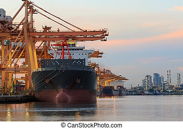 commercial ship loading container goods in ship yard use for transport and logistic cargo freight business