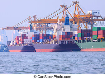 commercial ship loading container in shipping port image use for import ,export nautical vessel transport and industry logistic
