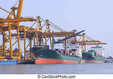 commercial ship loading container in shipping port image use for