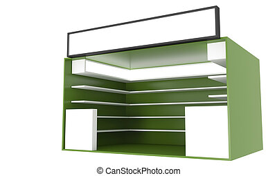Commercial Shop  - Commercial green Shop with Blank Box