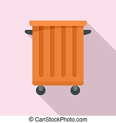 Commercial trash container icon, flat style