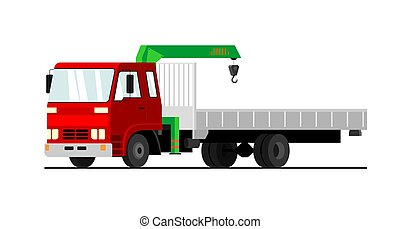 Commercial truck crane. Modern mobile hydraulic car crane on a white background. Vector Truck crane with red cab for the transport of goods.