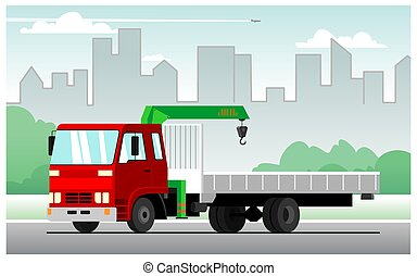 Commercial truck crane. Modern mobile hydraulic vehicle crane for the transport of goods against the backdrop of the city. Vector Truck crane with red cab rides around the city