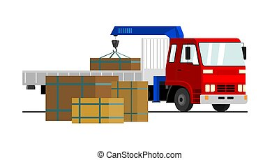 Commercial truck crane. Modern mobile hydraulic vehicle crane for transporting goods on a white background. Vector truck crane with red cab loads cargo in the truck