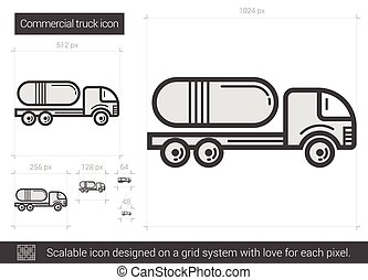 Commercial truck line icon.