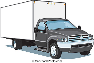 Vector isolated commercial truck on white background, without gradients and transparency EPS8 format.