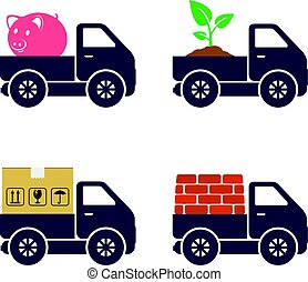 Commercial trucks icons. Delivery of various goods.