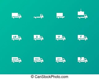Commercial van icons on green background.
