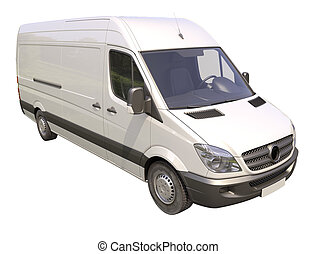 Commercial van isolated - Modern commercial van isolated on...