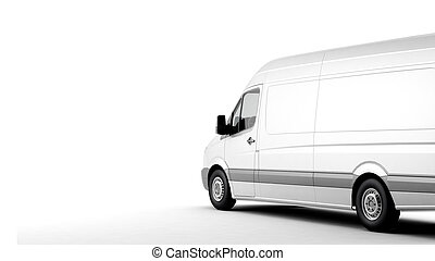 Commercial van on a white background with shadow