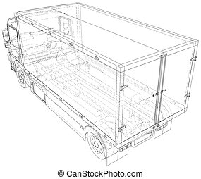 Commercial van. Trucking vehicle. Wire-frame. The layers of visible and invisible lines are separated. EPS10 format
