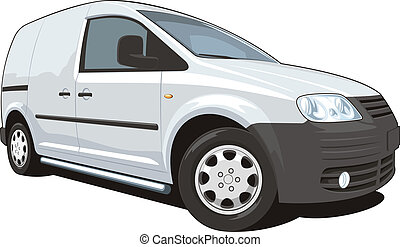 Commercial van - Vector isolated commercial van on white...