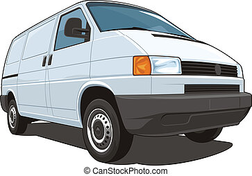 Commercial van - Vector isolated commercial van on white ...