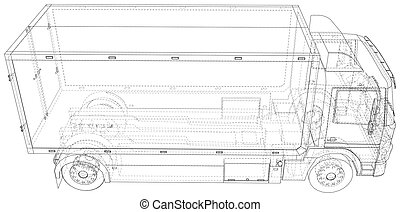 Commercial van vector. Trucking vehicle. Wire-frame. The layers of visible and invisible lines are separated. EPS10 format