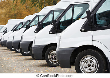 commercial vans in row - commercial delivery vans in row at...