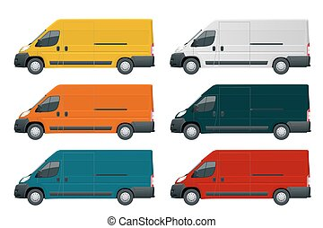 Commercial vehicle or Logistic car. Cargo minivan isolated on white background Side view Change the color in one click All elements in groups on separate layers