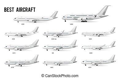 commerciale, modelli, tipo, aeroplani, differente, set